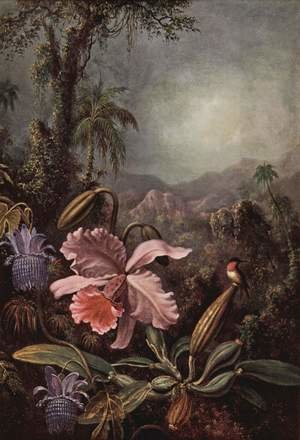 Famous paintings of Mountains and Cliffs: Orchids  Passion Flowers And Hummingbird