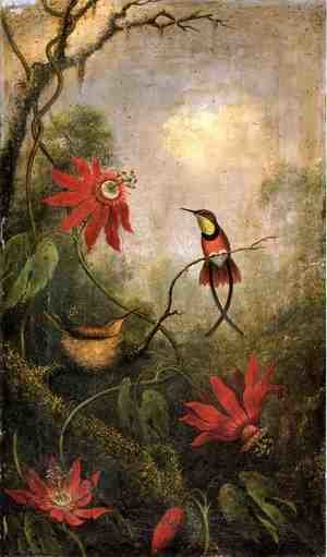 Famous paintings of Trees: Passion Flowers And Hummingbirds2