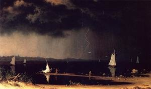 Famous paintings of Storms & Rough Water: Thunder Storm On Narragansett Bay