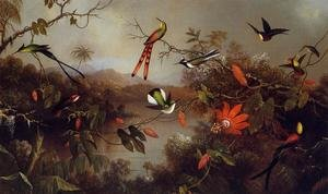 Famous paintings of Trees: Tropical Landscape With Ten Hummingbirds