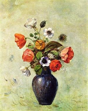 Odilon Redon reproductions - Anemones And Poppies In A Vase