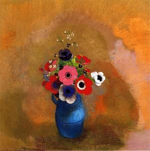 Reproduction oil paintings - Odilon Redon - Anemonies In A Blue Vase