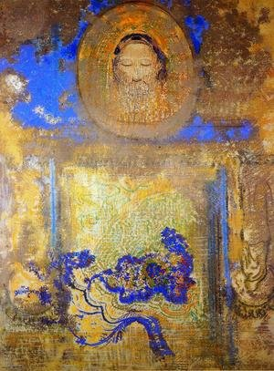 Reproduction oil paintings - Odilon Redon - Evocation Aka Head Of Christ Or Inspiration From A Mosaic In Revenna