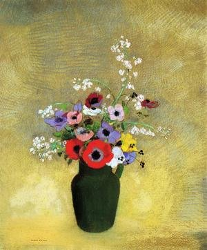 Reproduction oil paintings - Odilon Redon - Flowers In A Green Pitcher