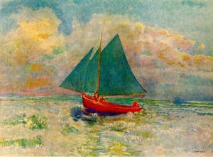 Odilon Redon reproductions - Red Boat with a Blue Sail 1906-07