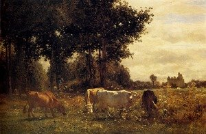 Realism painting reproductions: Cows Grazing