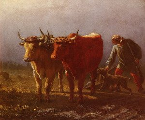 Realism painting reproductions: Plowing