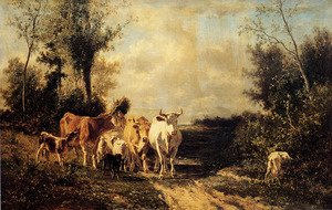 Realism painting reproductions: Returning From Pasture