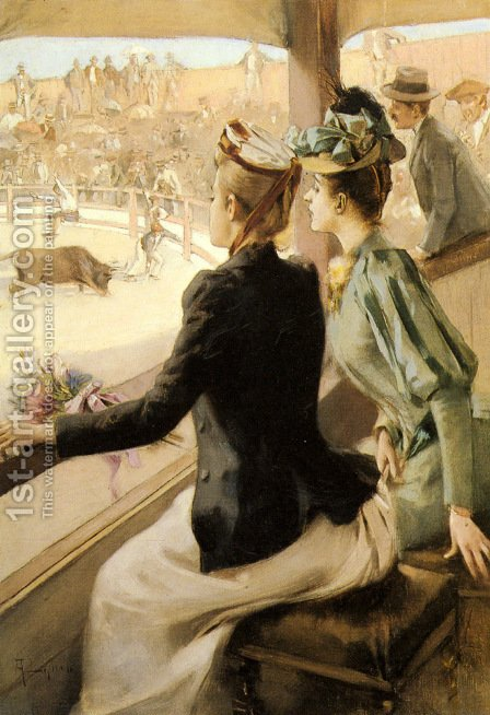 At The Bullfight by Albert Lynch - Reproduction Oil Painting