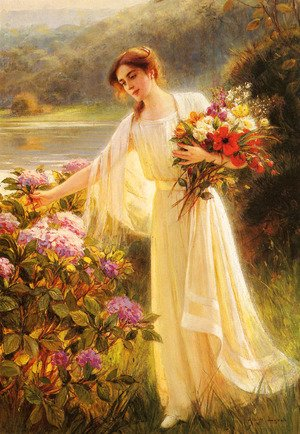 Reproduction oil paintings - Albert Lynch - Gathering Flowers