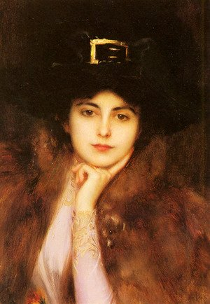 Reproduction oil paintings - Albert Lynch - Portrait Of An Elegant Lady