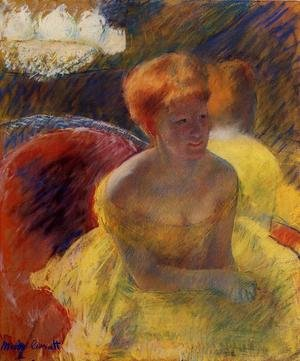 Reproduction oil paintings - Mary Cassatt - At The Theater Aka Lydia Cassatt Leaning On Her Arms  Seated In A Loge