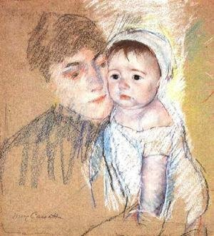 Reproduction oil paintings - Mary Cassatt - Baby Bill In Cap And Shift
