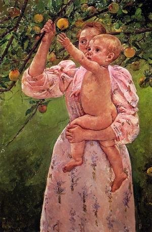 Reproduction oil paintings - Mary Cassatt - Baby Reaching For An Apple Aka Child Picking Fruit