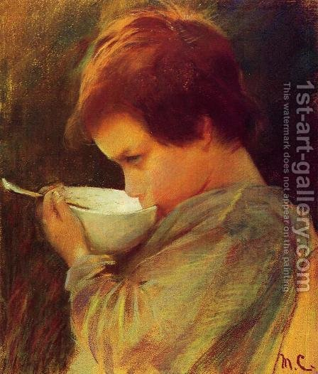 Mary Cassatt: Child Drinking Milk - reproduction oil painting