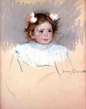 Reproduction oil paintings - Mary Cassatt - Ellen With Bows In Her Hair  Looking Right