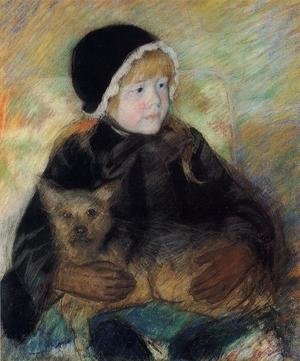 Reproduction oil paintings - Mary Cassatt - Elsie Cassatt Holding A Big Dog