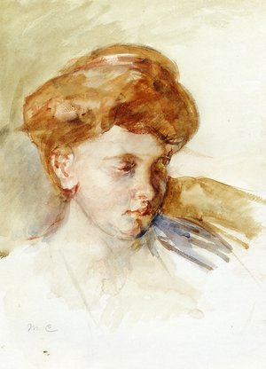 Reproduction oil paintings - Mary Cassatt - Head Of A Young Woman