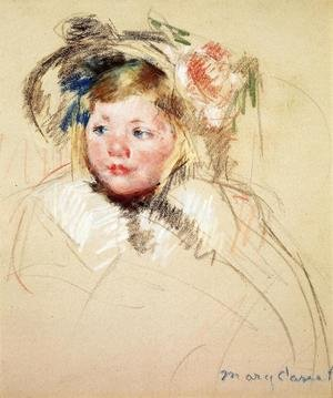 Reproduction oil paintings - Mary Cassatt - Head Of Sara In A Bonnet Looking Left