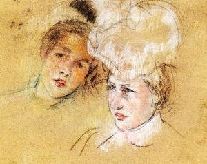 Reproduction oil paintings - Mary Cassatt - Heads Of Leontine And A Friend