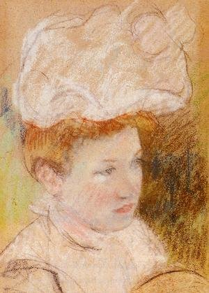 Reproduction oil paintings - Mary Cassatt - Leontine In A Pink Fluffy Hat