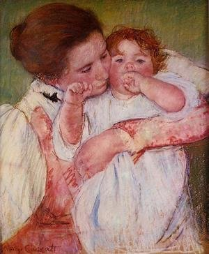 Reproduction oil paintings - Mary Cassatt - Little Ann Sucking Her Finger  Embraced By Her Mother