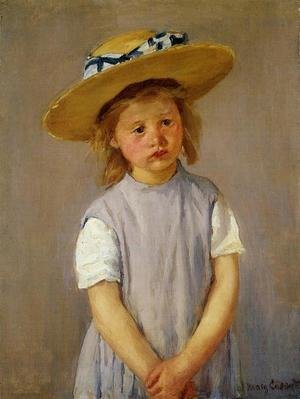 Reproduction oil paintings - Mary Cassatt - Little Girl In A Big Straw Hat And A Pinnafore