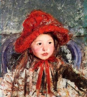 Reproduction oil paintings - Mary Cassatt - Little Girl In A Large Red Hat