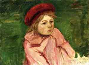 Reproduction oil paintings - Mary Cassatt - Little Girl In A Red Beret