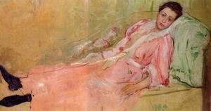 Reproduction oil paintings - Mary Cassatt - Lydia Reading On A Divan
