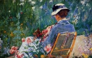 Reproduction oil paintings - Mary Cassatt - Lydia Seated In The Garden With A Dog In Her Lap