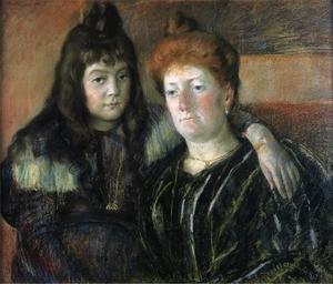 Reproduction oil paintings - Mary Cassatt - Madame Meerson And Her Daughter