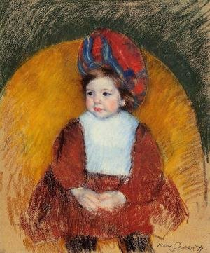 Reproduction oil paintings - Mary Cassatt - Margot In A Dark Red Costume Seated On A Round Backed Chair