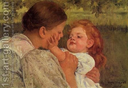 Mary Cassatt: Maternal Caress - reproduction oil painting