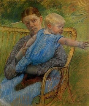 Reproduction oil paintings - Mary Cassatt - Mathilde Holding A Baby Who Reaches Out To The Right