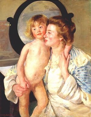Reproduction oil paintings - Mary Cassatt - Mother And Child Aka The Oval Mirror