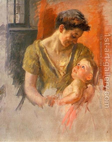 Mother And Child Smiling At Each Other by Mary Cassatt - Reproduction Oil Painting
