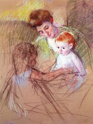 Reproduction oil paintings - Mary Cassatt - Mother And Daughter Looking At The Baby