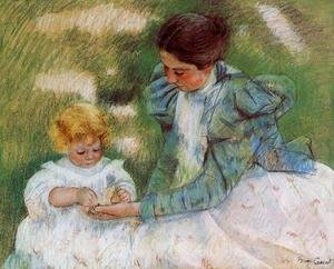 Impressionism painting reproductions: Mother Playing With Her Child