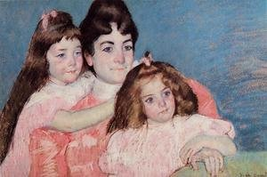 Reproduction oil paintings - Mary Cassatt - Portrait Of Madame A  F  Aude And Her Two Daughters
