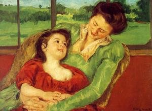 Reproduction oil paintings - Mary Cassatt - Reine Lefebre And Margot Before A Window