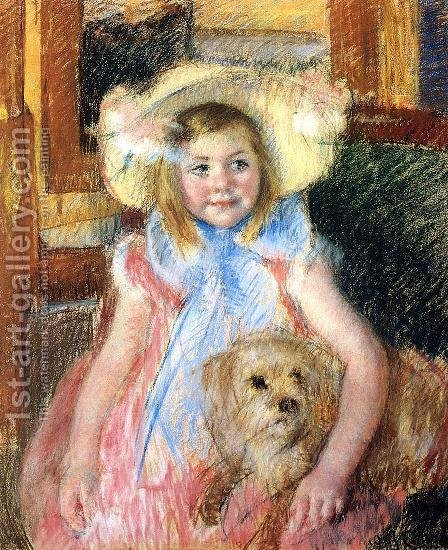 Mary Cassatt: Sara In A Large Flowered Hat  Looking Right  Holding Her Dog - reproduction oil painting