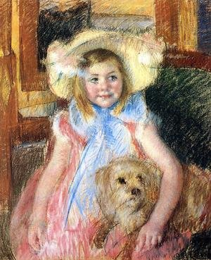 Reproduction oil paintings - Mary Cassatt - Sara In A Large Flowered Hat  Looking Right  Holding Her Dog