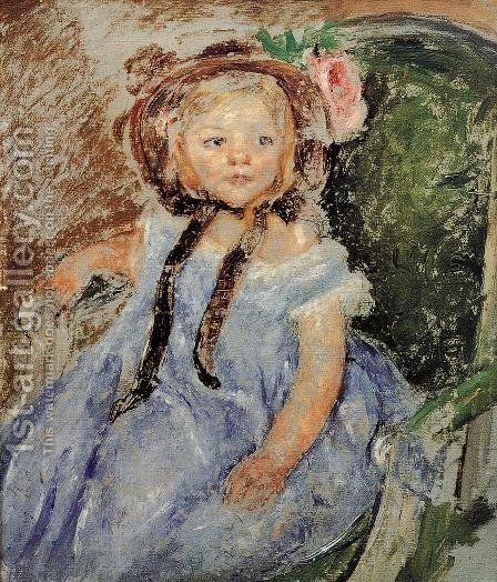 Sara In Dark Bonnet With Right Hand On Arm Of Chair by Mary Cassatt - Reproduction Oil Painting