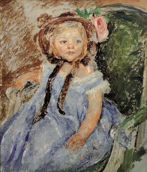 Reproduction oil paintings - Mary Cassatt - Sara In Dark Bonnet With Right Hand On Arm Of Chair