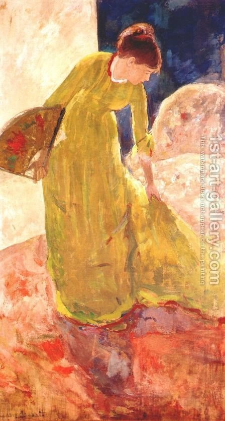 Woman Standing  Holding A Fan by Mary Cassatt - Reproduction Oil Painting