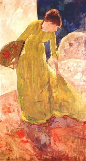 Reproduction oil paintings - Mary Cassatt - Woman Standing  Holding A Fan