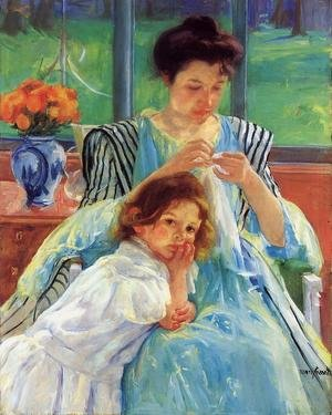 Reproduction oil paintings - Mary Cassatt - Young Mother Sewing