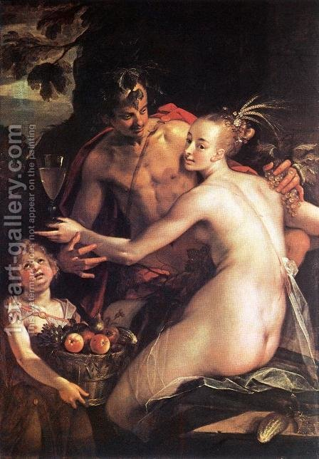 Bacchus, Ceres and Cupid by Hans Von Aachen - Reproduction Oil Painting