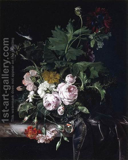 Willem Van Aelst: Flower Still-Life 1677 - reproduction oil painting